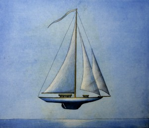 """Sailboat"" etching 30 x 35 cm"